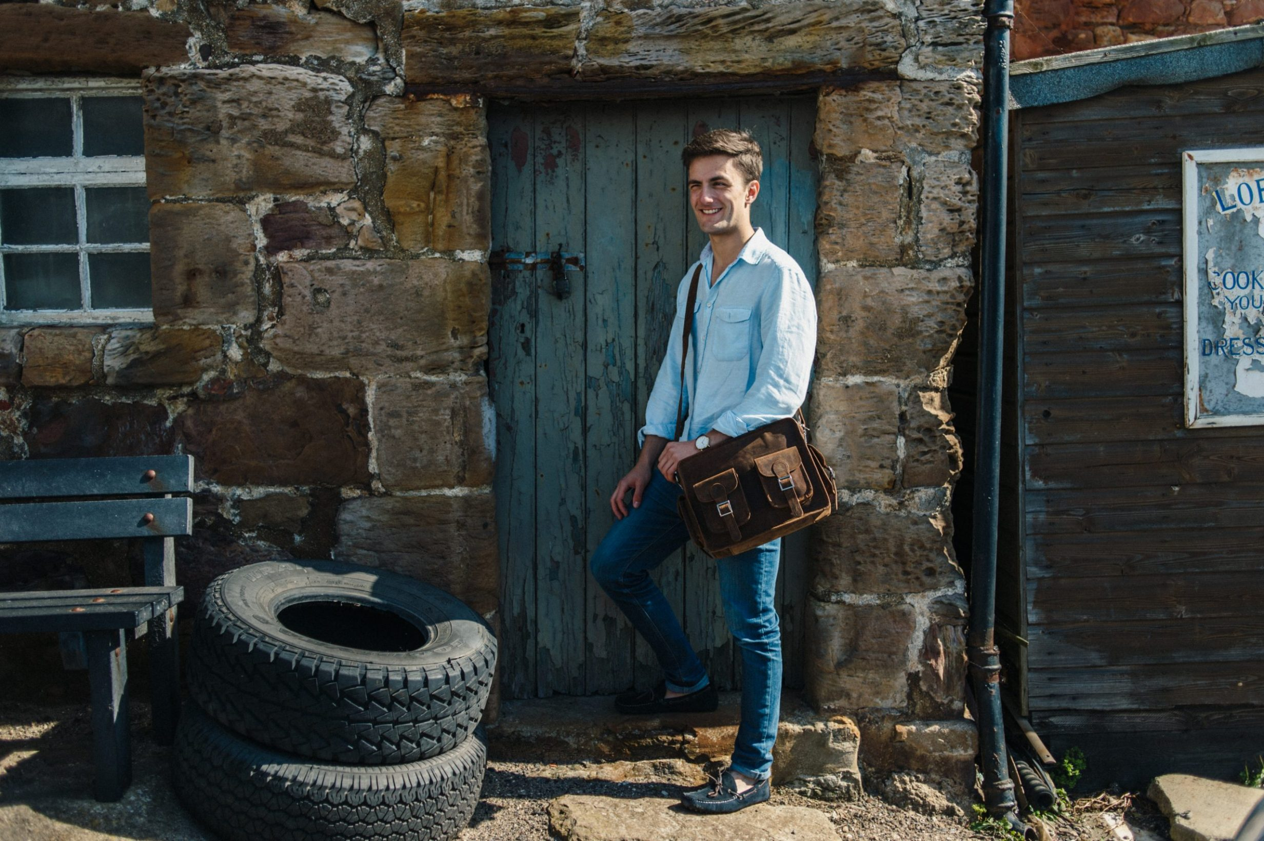 vintage leather bag, Fife, Scotland, Crail